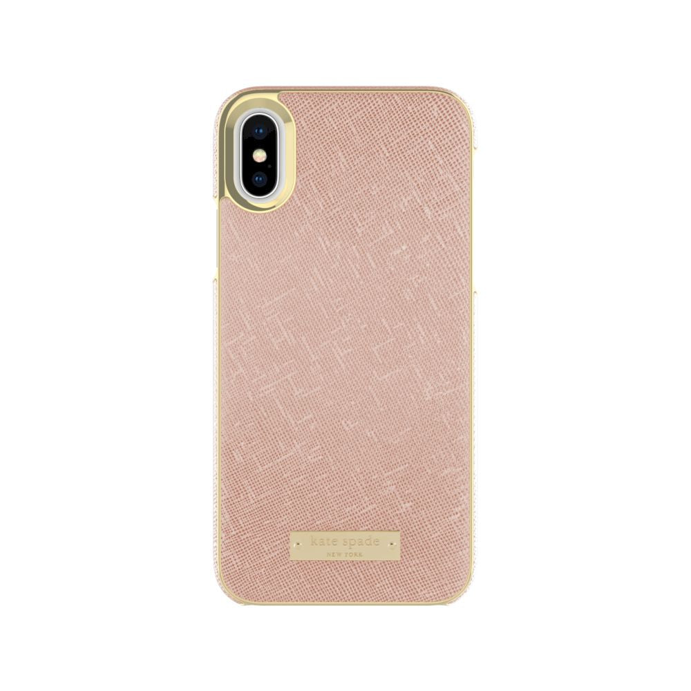 kate spade new york - Wrap Case For iPhone XS/X - Saffiano Rose Gold/Gold Logo Plate