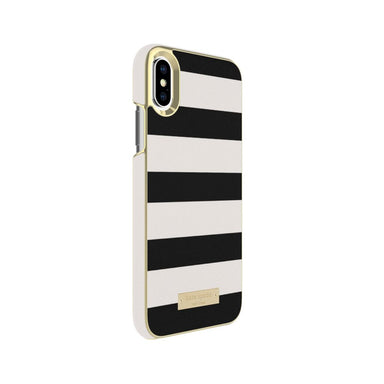 kate spade new york - Wrap Case For iPhone XS/X - Stripe Black/Cement