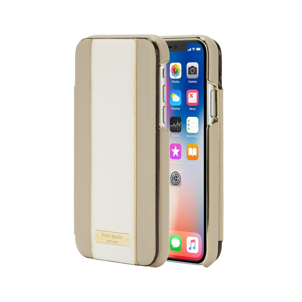 kate spade new york - Reverse Folio Case For iPhone XS/X - Clocktower/Cement