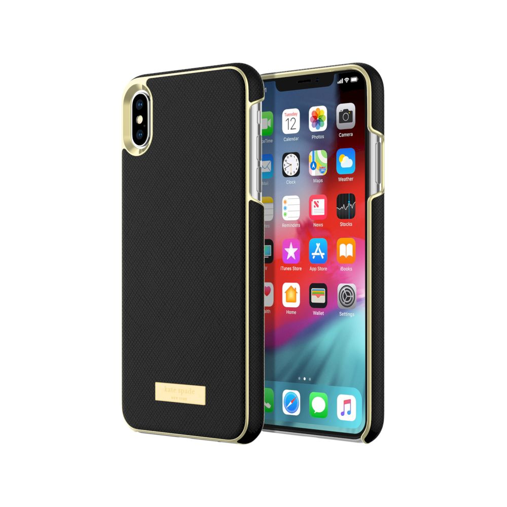 kate spade new york - Wrap Case For iPhone XS Max - Saffiano Black/Gold Logo Plate