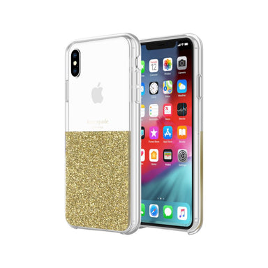 kate spade new york - Half Clear Crystal Case For iPhone XS Max - Gold