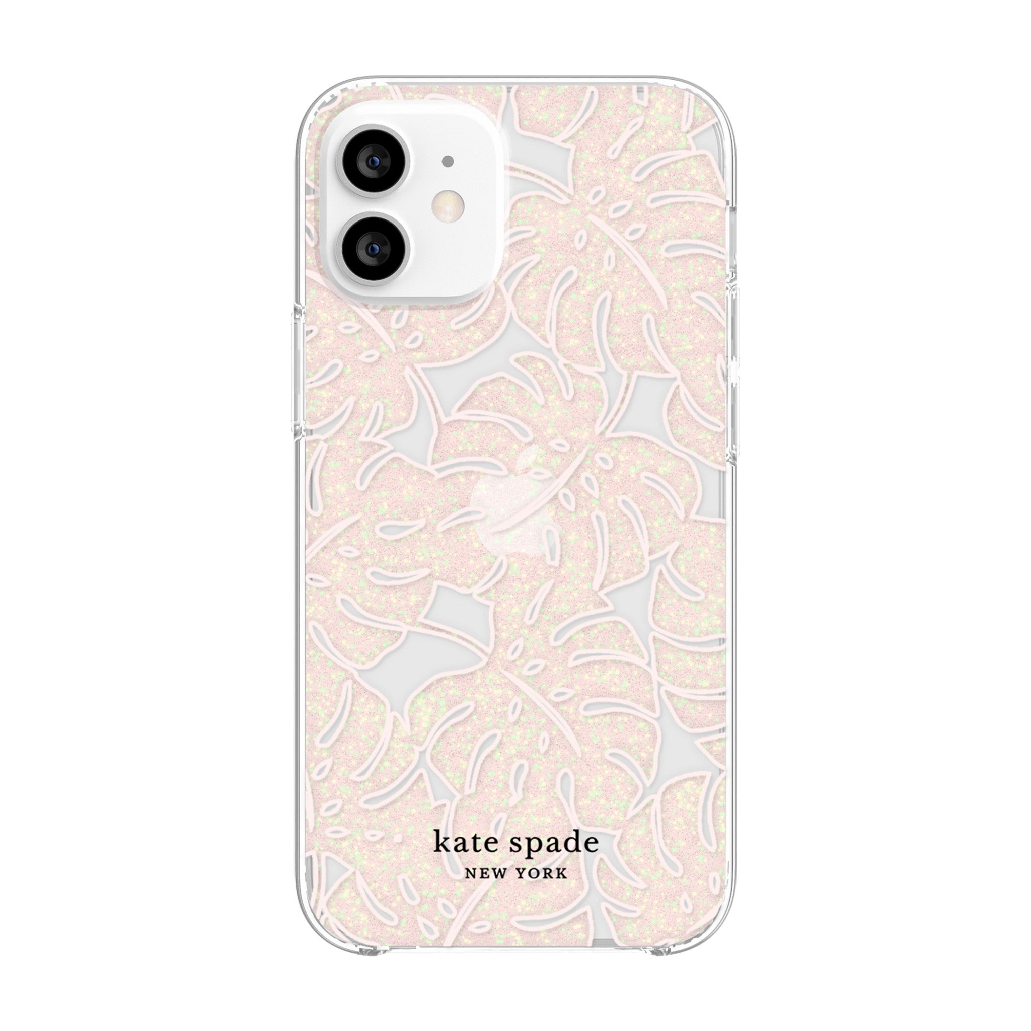 kate spade new york - Protective Hardshell Case for iPhone 12 mini - Island Leaf Pink Glitter/Clear/Blush Bumper