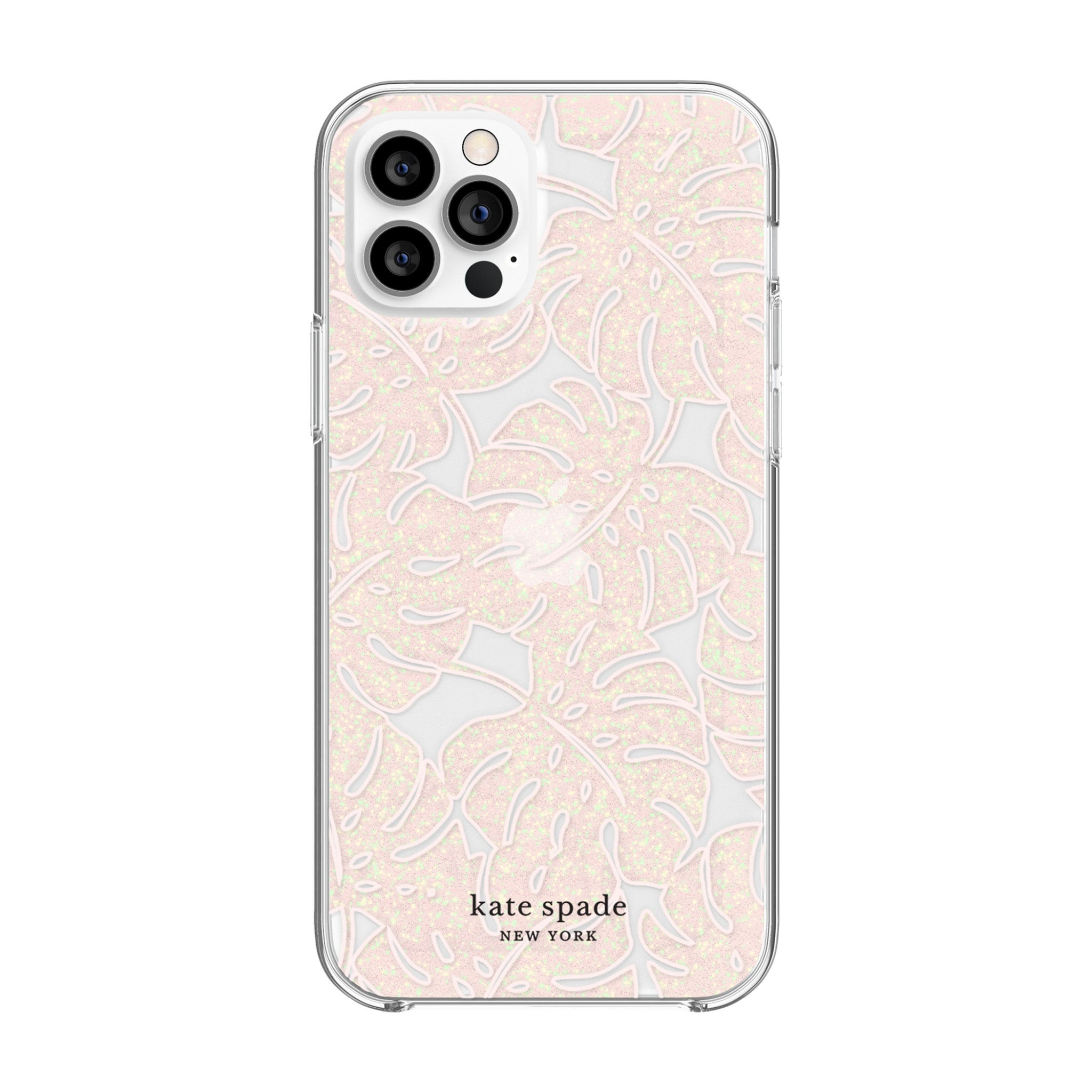 kate spade new york - Protective Hardshell Case for  iPhone 12/12 Pro - Island Leaf Pink Glitter/Clear/Blush Bumper