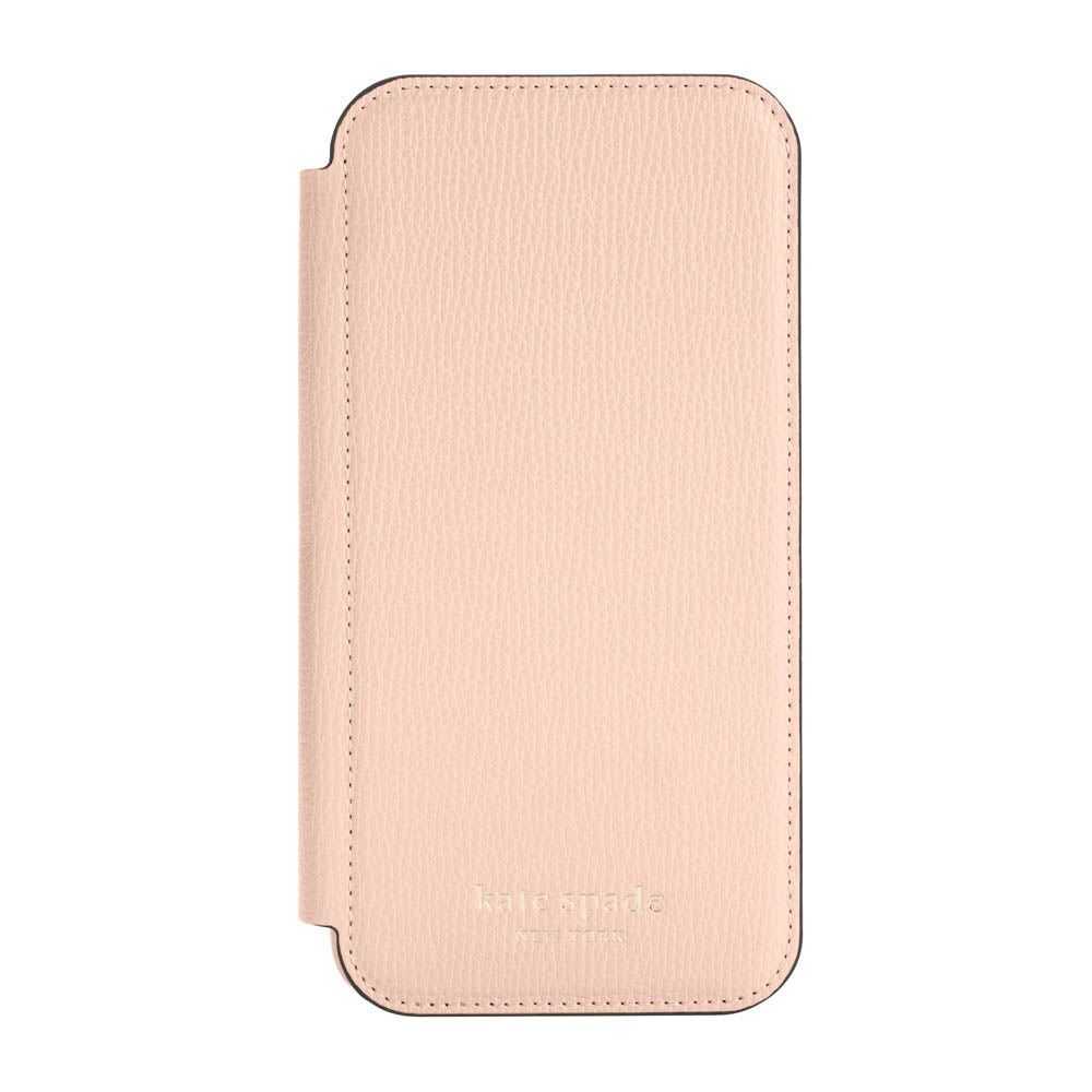 kate spade new york - Folio Case for iPhone 12 ProMax - Pale Vellum Crumbs/Pale Vellum PC/Gold Sticker Logo