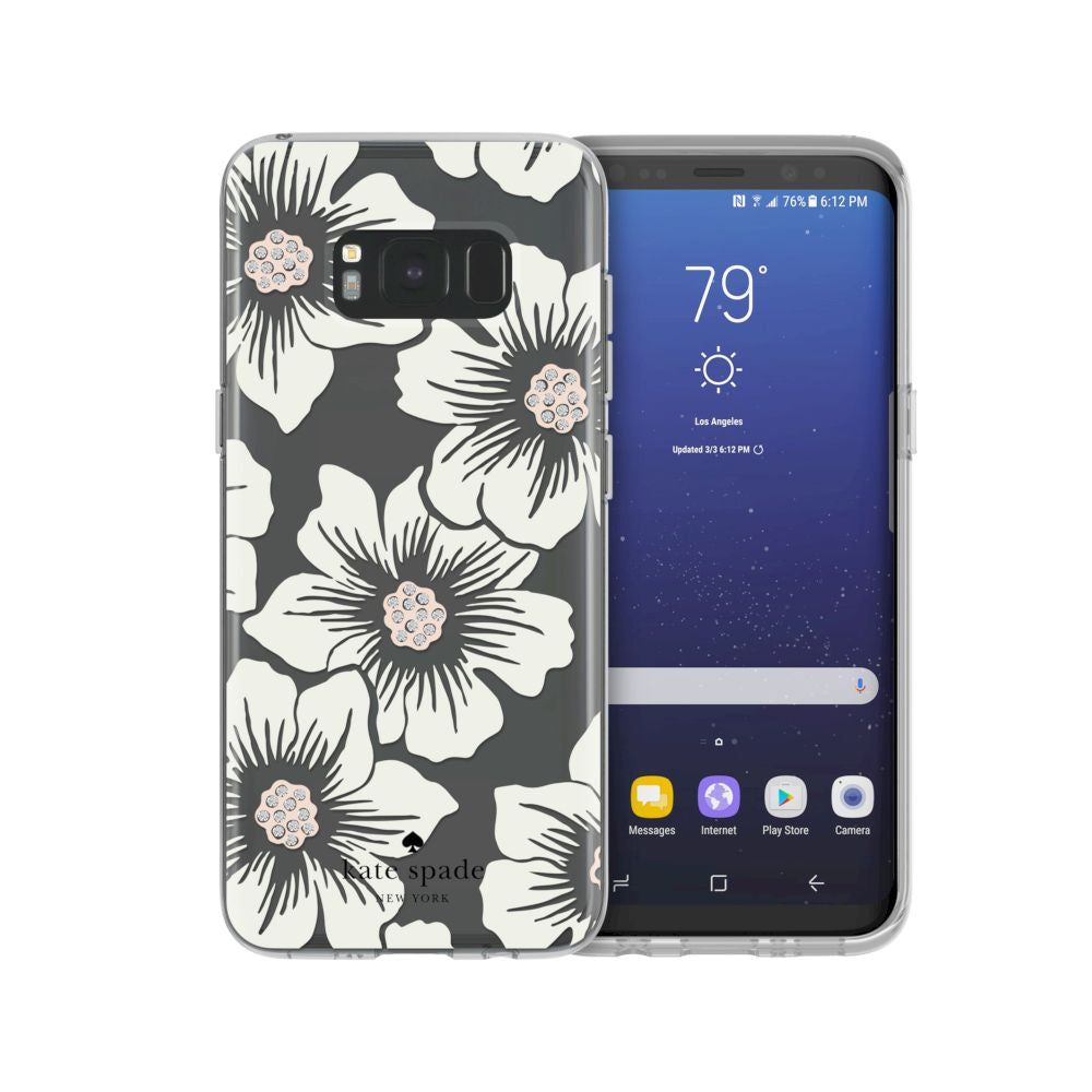 kate spade new york - Protective Hardshell Case For Samsung S8 - Hollyhock Floral Clear/Cream with Stones