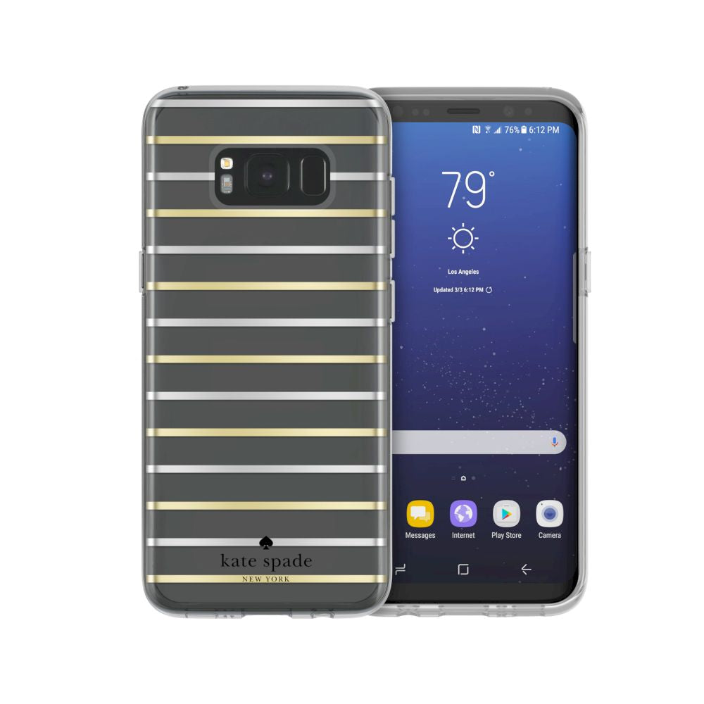 kate spade new york - Protective Hardshell Case For Samsung S8 - Surprise Stripe Clear/Silver/Gold