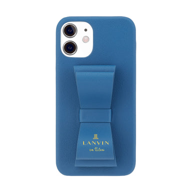 LANVIN en Bleu - SLIM WRAP CASE STAND & RING RIBBON for iPhone 12 mini - Navy