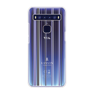 LANVIN COLLECTION - CLEAR CASE STRIPE for TCL 10 5G - Light Blue×Gray×White