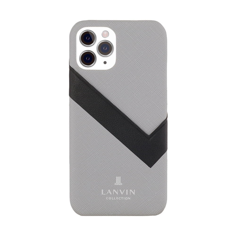 LANVIN COLLECTION - SLIM WRAP CASE SAFFIANO WRAP for iPhone 11 Pro - Light Gray