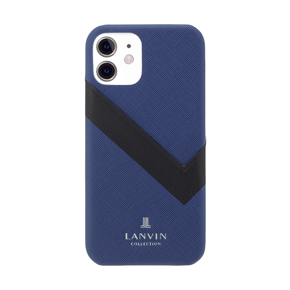 LANVIN COLLECTION - SLIM WRAP CASE SAFFIANO WRAP for iPhone 12 mini - Navy