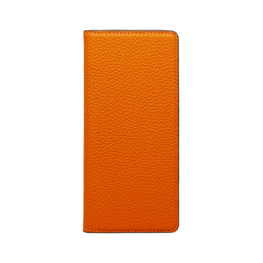 LORNA PASSONI - German Shrunken Calf Folio Case for Xperia 5 - Orange×Tinfoll Gray