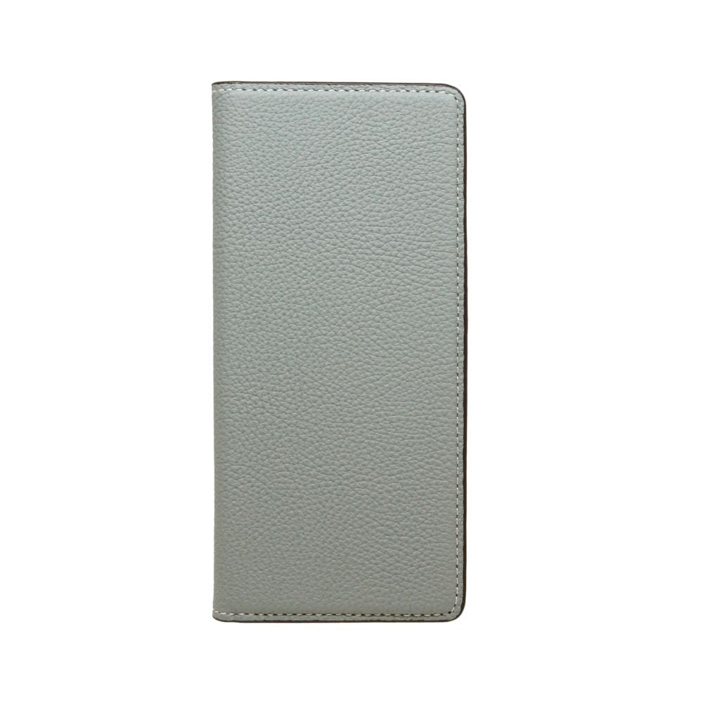 LORNA PASSONI - German Shrunken Calf Folio Case For Xperia 8 - Light Blue×Dark Brown