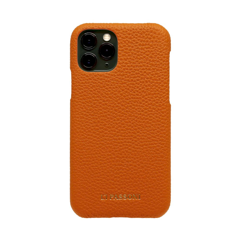 LORNA PASSONI - German Shrunken Calf Wrap Case for iPhone 11 Pro Max - Orange