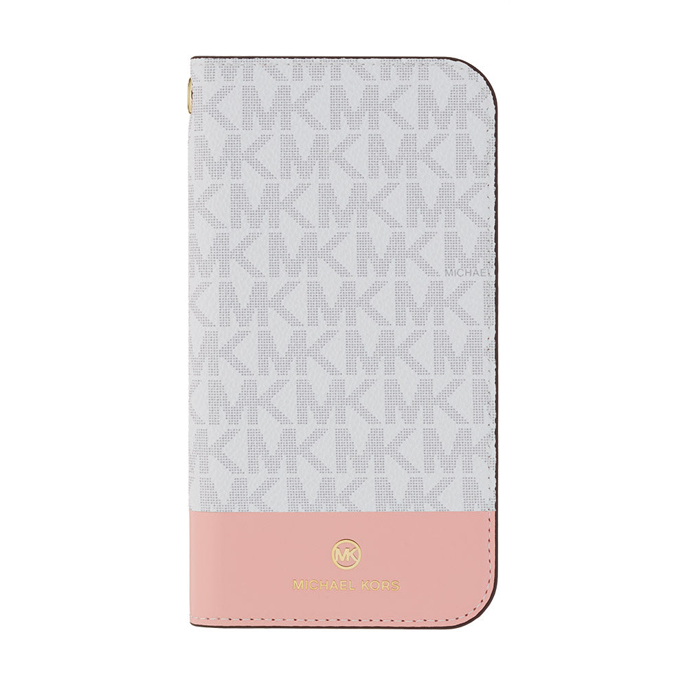 MICHAEL KORS - FOLIO CASE 2 TONE with TASSEL CHARM for iPhone 12/12 Pro - Bright White / Pink
