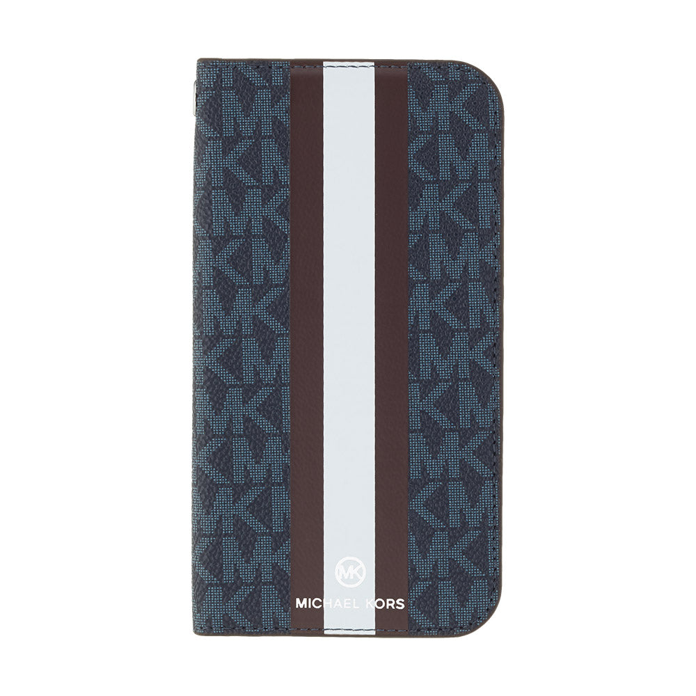 MICHAEL KORS - FOLIO CASE STRIPE with TASSEL CHARM for iPhone 11 - Admiral/Dark Brown