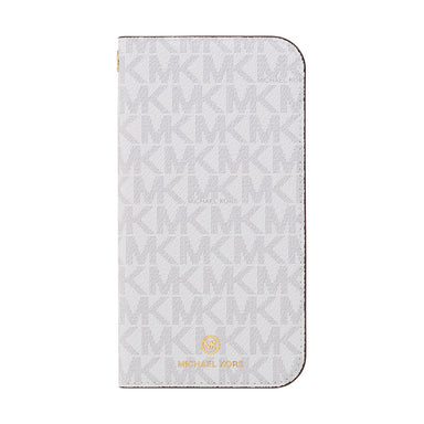 MICHAEL KORS - Folio Case Signature with Tassel Charm for iPhone 12 Pro Max - Bright White