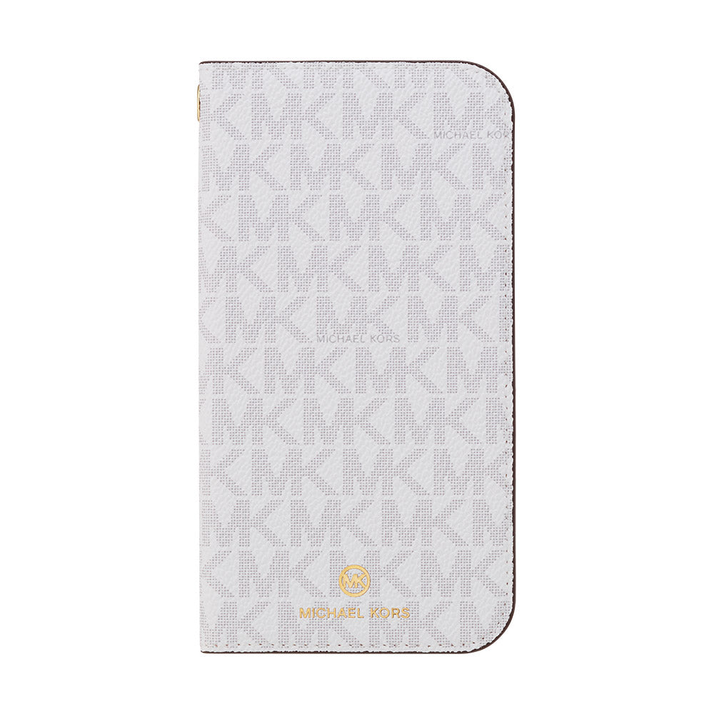 MICHAEL KORS - FOLIO CASE SIGNATURE with TASSEL CHARM for iPhone 12 mini - Bright White