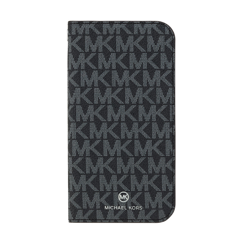 MICHAEL KORS - FOLIO CASE SIGNATURE with TASSEL CHARM for iPhone 12 mini - Black White