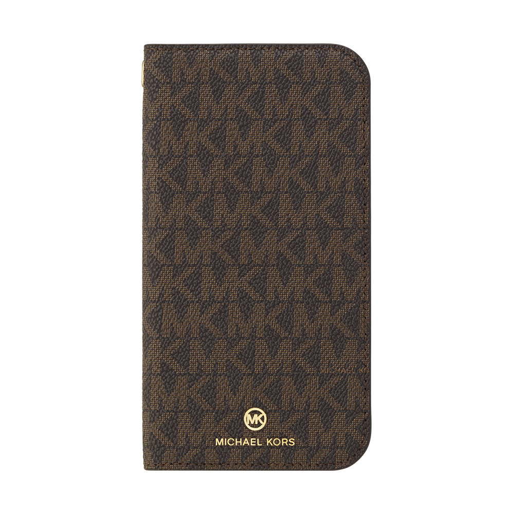 MICHAEL KORS - FOLIO CASE SIGNATURE with TASSEL CHARM for iPhone 12 mini - Brown