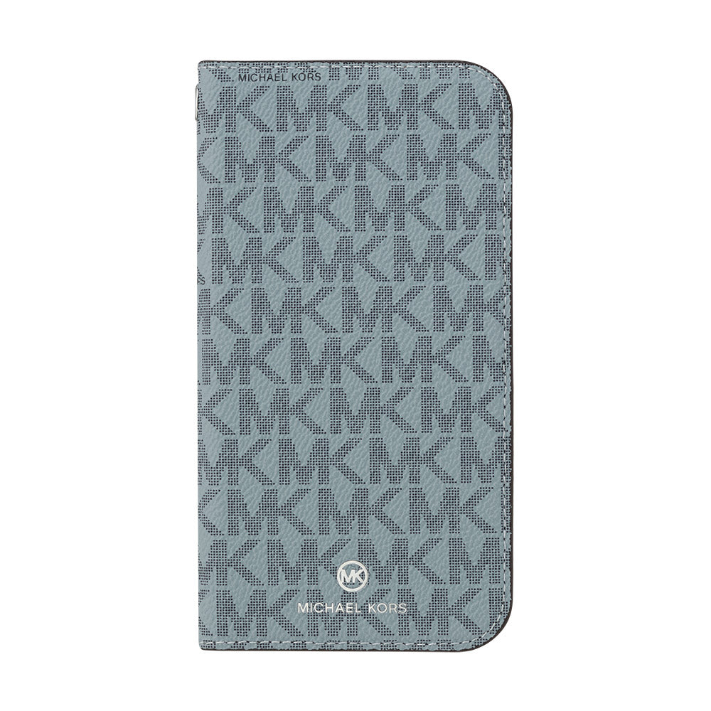 MICHAEL KORS - FOLIO CASE SIGNATURE with TASSEL CHARM for iPhone 12 mini - Pale Blue Admiral