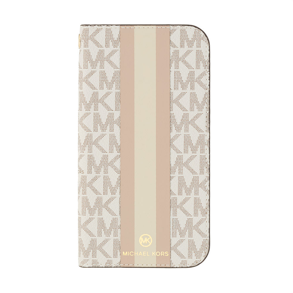 MICHAEL KORS - FOLIO CASE STRIPE with TASSEL CHARM for iPhone 11 - Vanilla