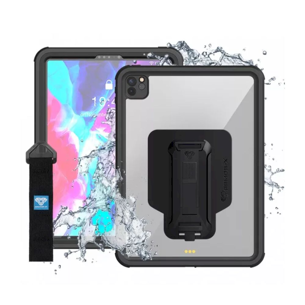 ARMOR-X - Waterproof Protective Case With New Adaptor And Hand Strap for iPad Pro 12.9 第4世代 - Black