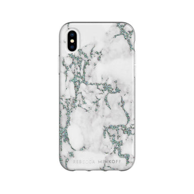 Rebecca Minkoff - Be Flexible Case for iPhone XS/X - Black Glitter Marble