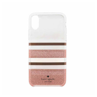 kate spade new york - Hybrid Hardshell Case For iPhone X/XS - CHALOTTE STRIPE ROSE GOLD