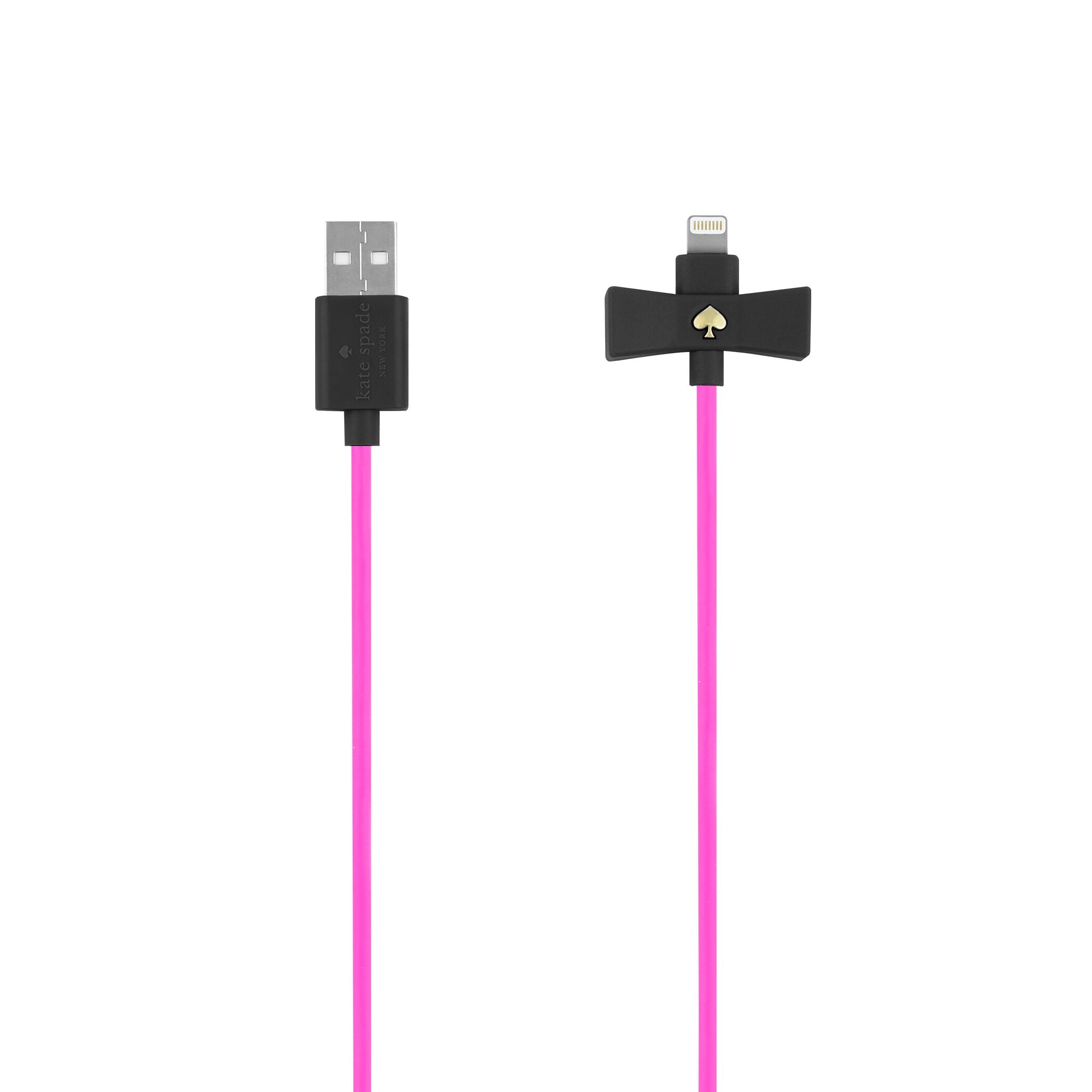kate spade new york - Bow Charge/Sync Cable - Captive Lightning - Black Bow/Vivid Snapdragon Cable / ケーブル - FOX STORE