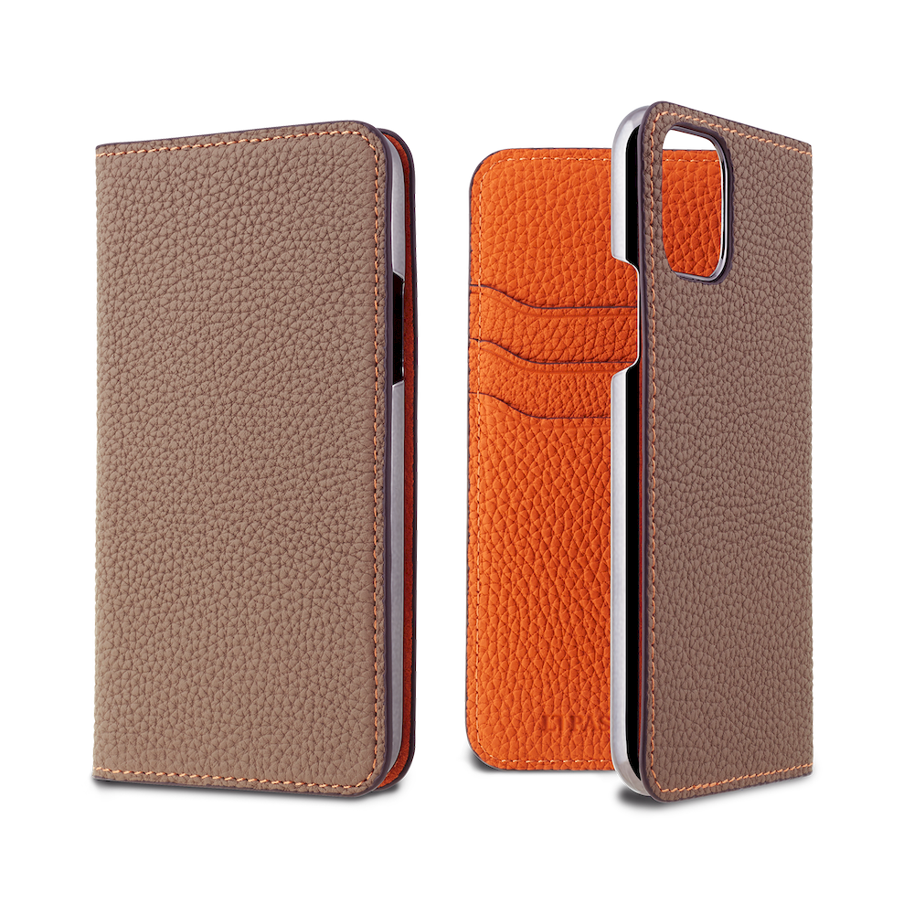 LORNA PASSONI - Limited - German Shrunken Calf Folio Case for iPhone - Galaxy Gray×Orange / iPhone XR - Galaxy Gray×Orange / iPhone XS/X