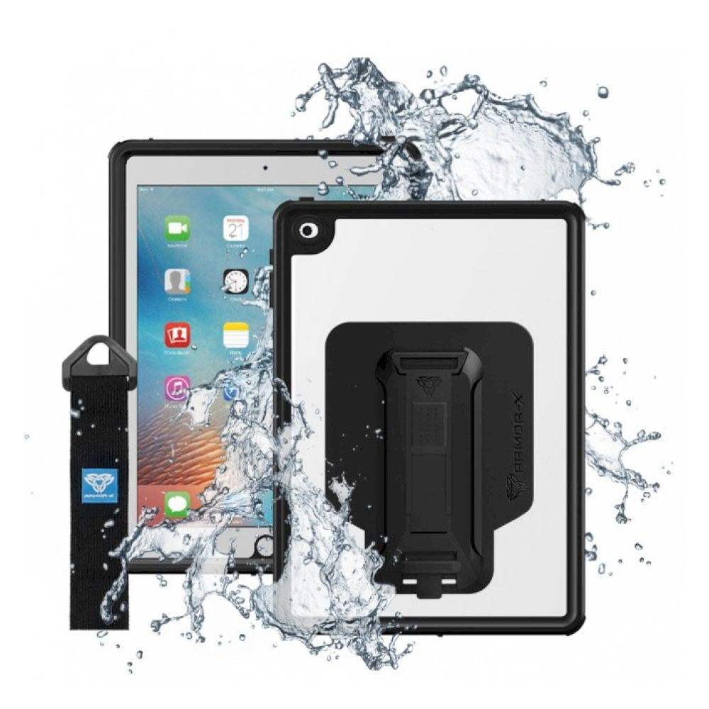 ARMOR-X - IP68 Waterproof Case With Hand Strap for iPad 9.7 第6世代 - Black