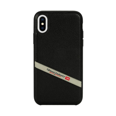 DIESEL - Leather Co-Mold Case Black Leather Diagonal Logo for iPhone XS/X - caseplay