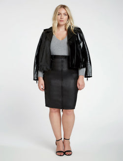 Veronica Front Zip Leather Pencil Skirt