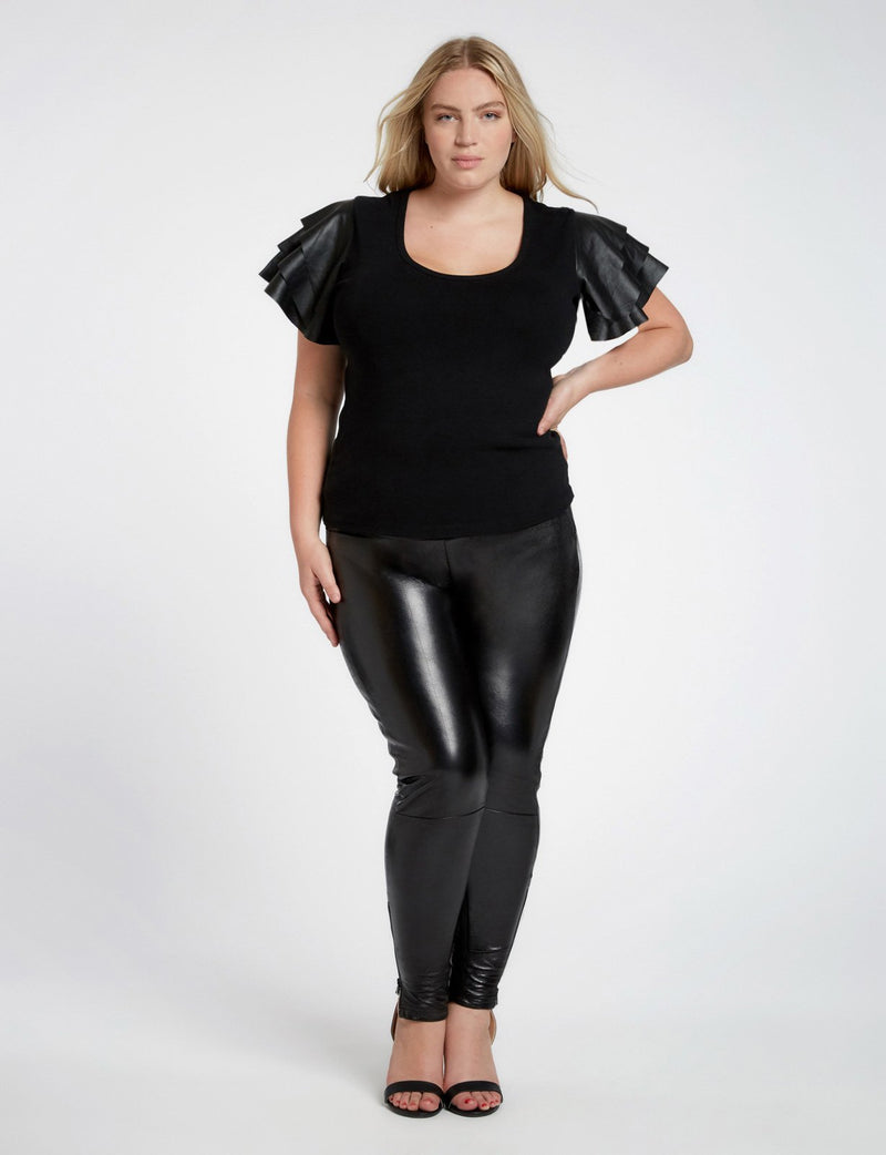 Cleo Leather Flutter Sleeve Top