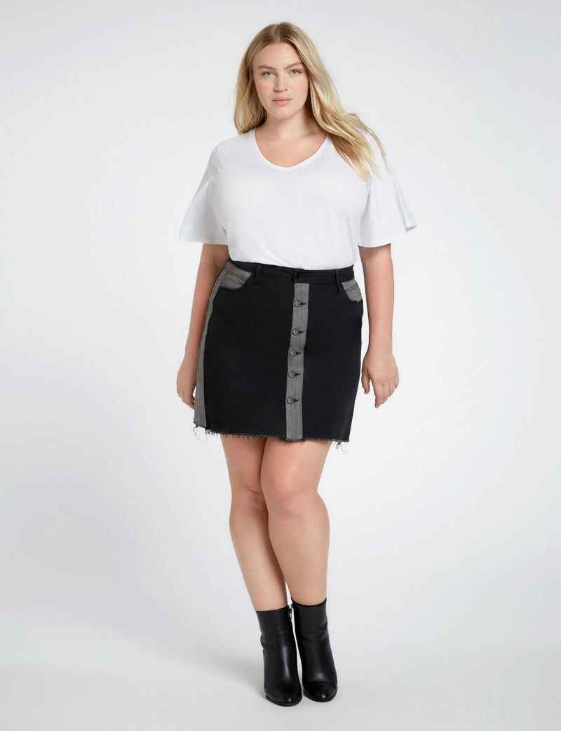 Vesper Raw Edge Denim Skirt