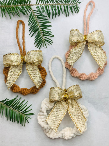 Macramé wreath ornaments