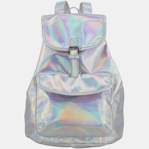 BJX Iridescent Silver Holographic Flap Backpack