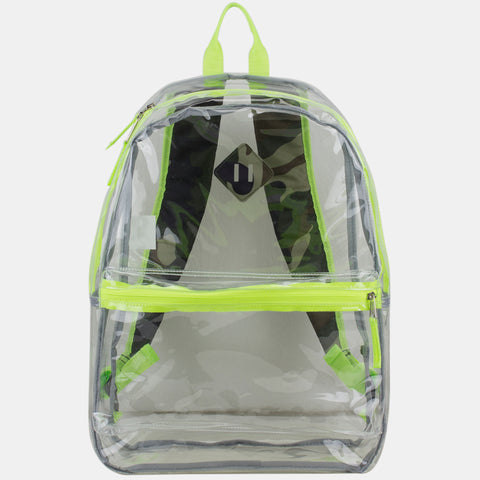 Eastsport Fully Transparent Clear Backpack with Front Pocket, Adjustable Straps and Lash Tab
