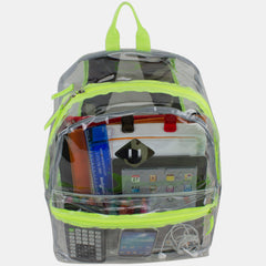 Eastsport Clear PVC Backpack with Front Diam and Printed Adjustable Padded Strapsond Lash Tab