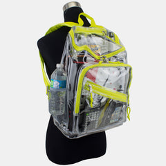 Eastsport Durable Clear Top Loader Backpack with Adjustable Colorful Straps - Transparent