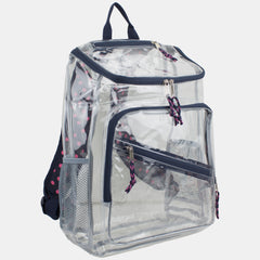 Eastsport Durable Clear Top Loader Backpack with Adjustable Printed Straps - Transparent