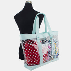 Eastsport Supreme Deluxe 100% Clear PVC Printed Large Beach Tote with Free Large Wristlet