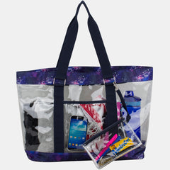 Eastsport Supreme Deluxe 100% Clear PVC Printed Large Tote with Free Large Wristlet