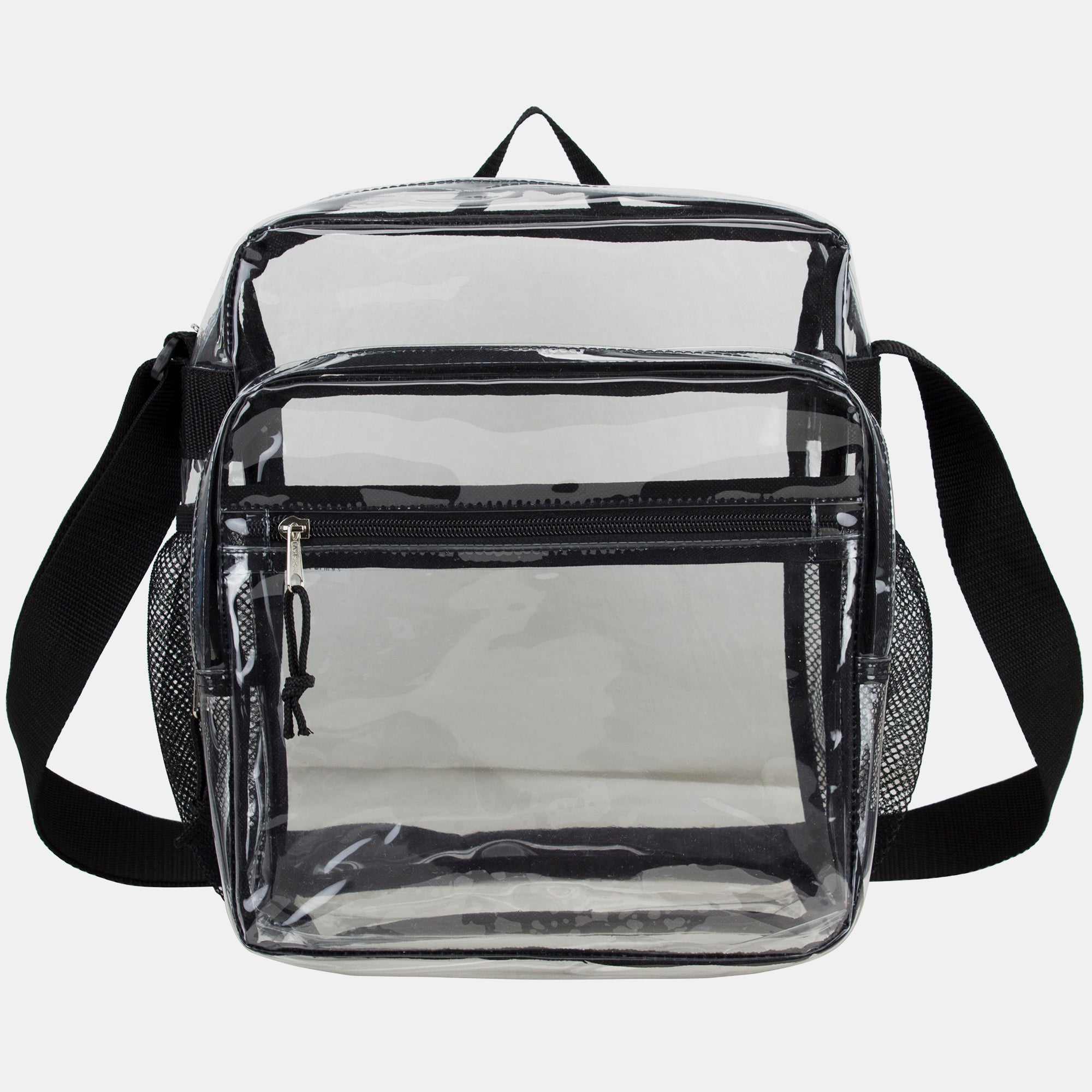 Eastsport Clear Stadium Messenger Bag with Side Mesh Pockets