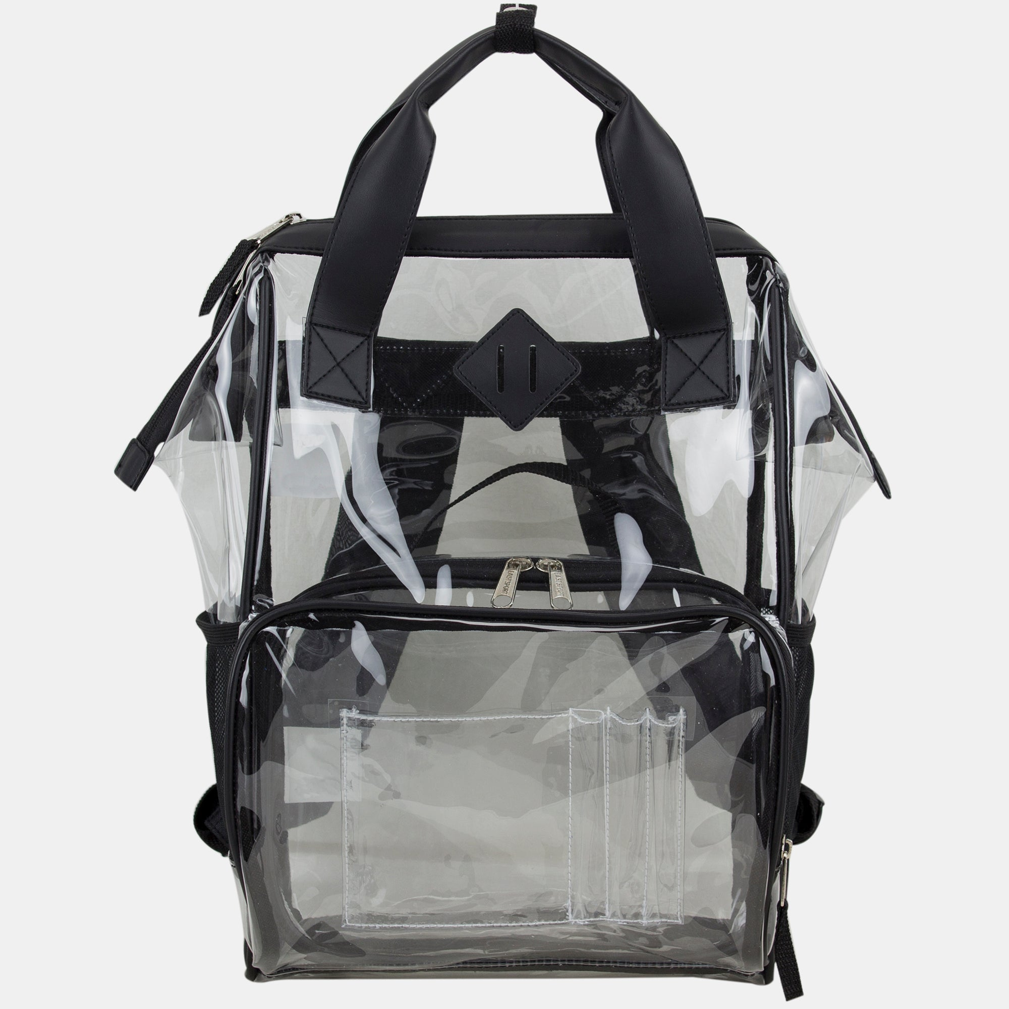Eastsport Double Handle Clear Backpack with Adjustable Padded Straps and Free Clear Pouch, Tote Alternative (Black)