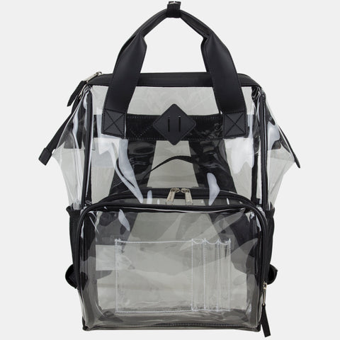 Eastsport Double Handle Clear Backpack with Adjustable Padded Straps and Bonus Clear Pouch, Tote Alternative
