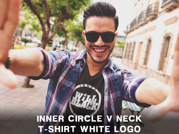 Will Black Inner Circle V Neck T-Shirt White Logo