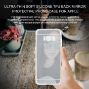 2 Pcs Shock-Absorption Protective Case Ultra-thin Soft Silicone TPU Silver Color Back MakeUp Mirror Phone Case For Samsung S8