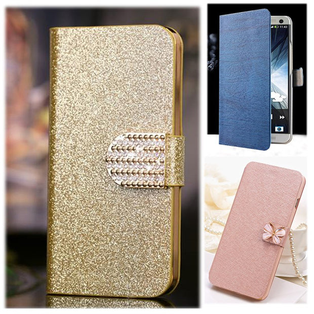 (3 Styles) Luxury PU Leather Case For LG K8 LTE K350E K350N Case Flip Phone Back Cover High Quality Protective Case Coque