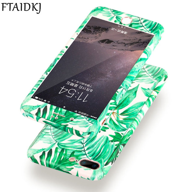 360 Degree Full Body Protection Green Plant Leaf Hard Case For IPhone X 10 6S 6 7 8 Plus 5 5S SE Flower Marble Stone Cover Coque